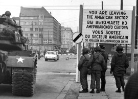 American tanks and troops at Checkpoint Charlie