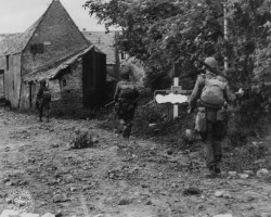 Paratroopers in a French village, Normandy