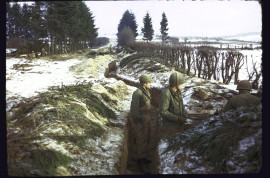 American troops manning trenches along s